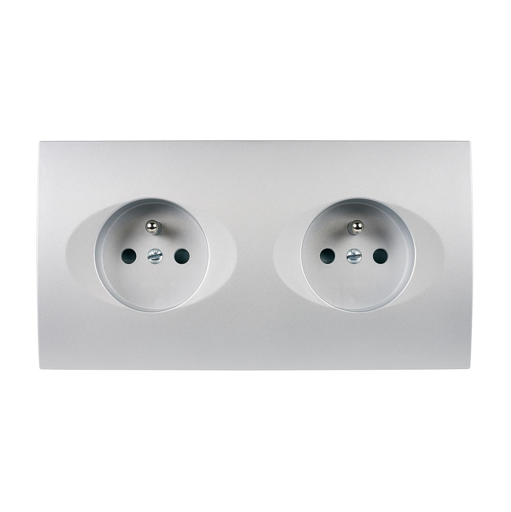 karo - Double plug socket 2P+E - Alu Satin finish