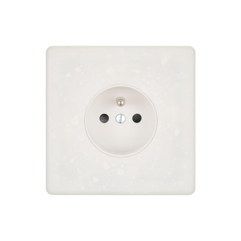 HIKARI - Single plug socket 2P+E - White Terrazzo finish
