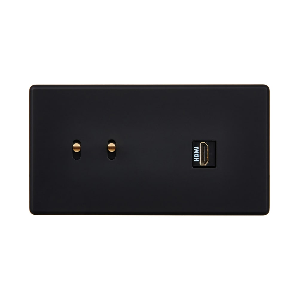 HIKARI - Double two-way switch HDMI - Black Soft Touch finish