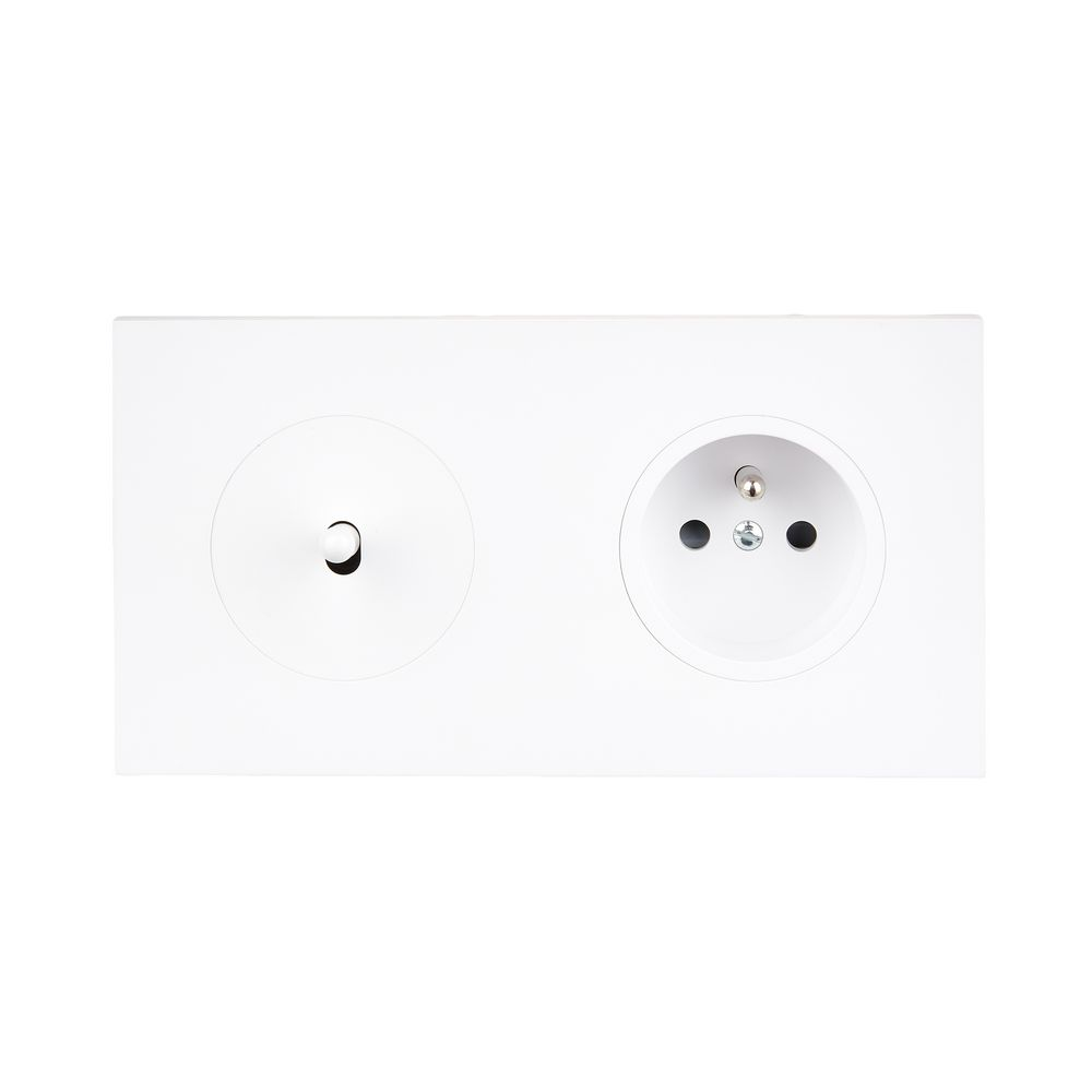 DÉSIR SATIN - Single two-way + plug socket 2P+E - White Soft Touch finish