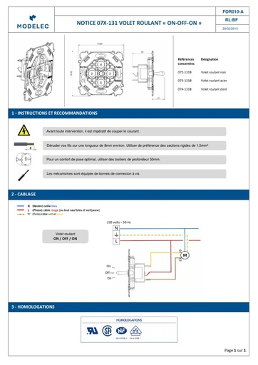 NOTICE 07X 131B VOLET ROULANT ON OFF ON